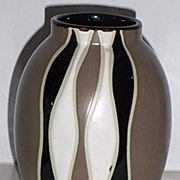 Geometric Modern black and white Vase Art Pottery Ceramic
