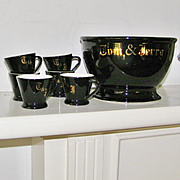 Black Tom and Jerry Bowl set with mugs  Egg Nog Set 6 Cups