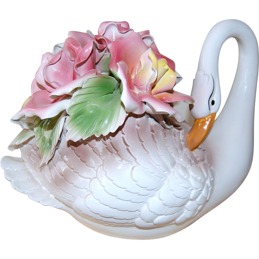Large Signed Capodimonte White Porcelain Swan w/ Roses Sculpture
