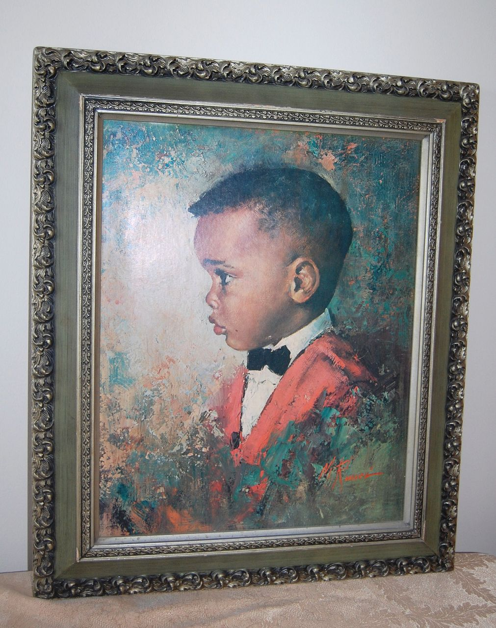 1970 Black Boy Huge Framed Print Signed M Runci From