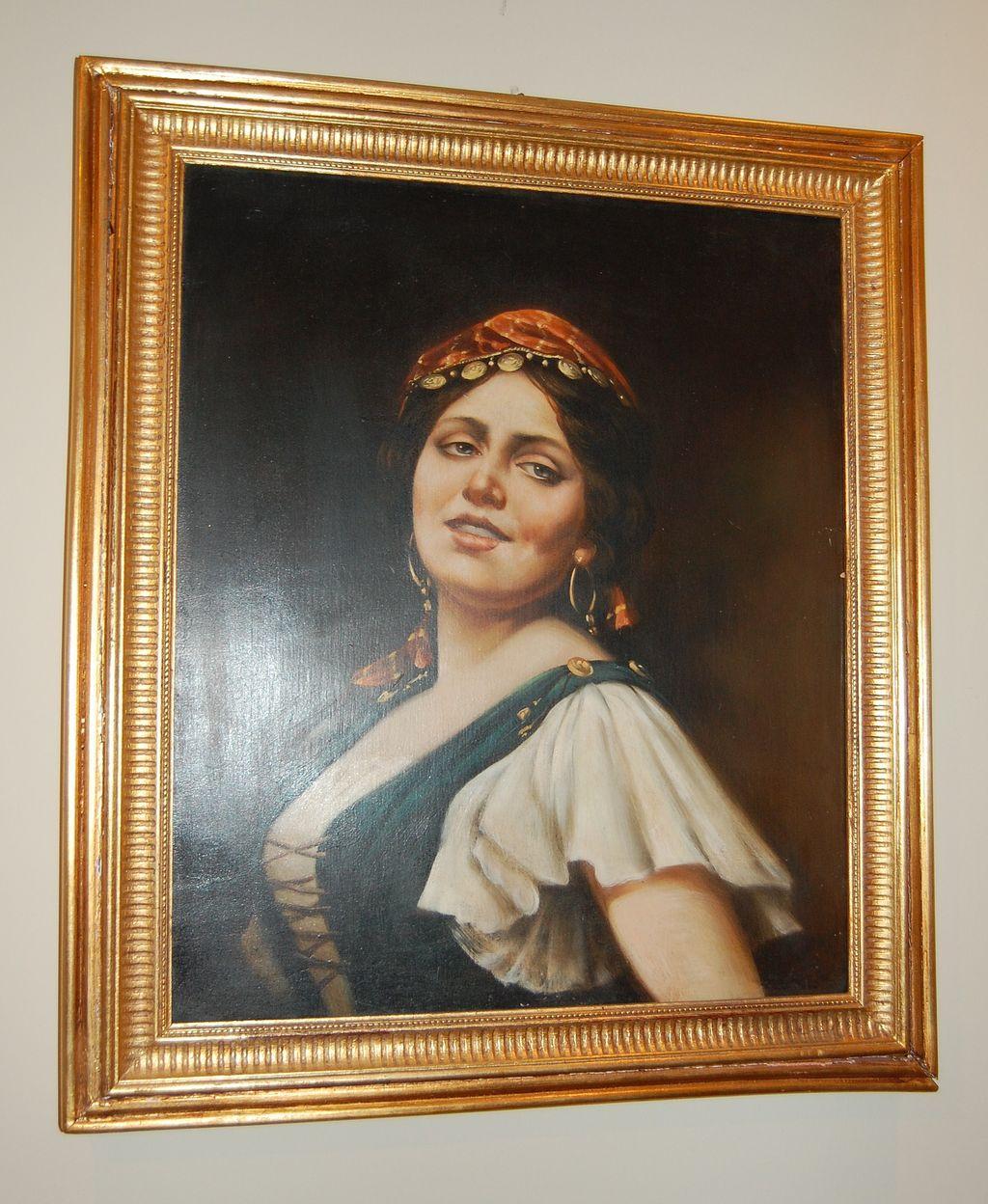 1900s Italian Gypsy Oil Painting In Original Gilt Frame