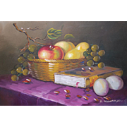 Signed A. Montoya Large Still Life Bowl of Fruit Original Oil Painting