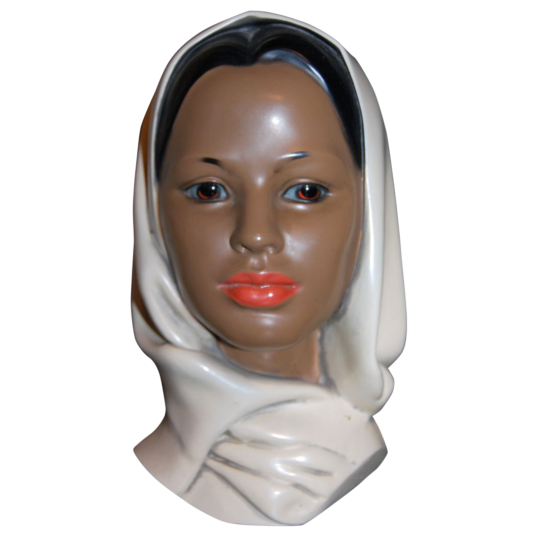 1960s Marwal ~ Ceramic Indian Woman Bust