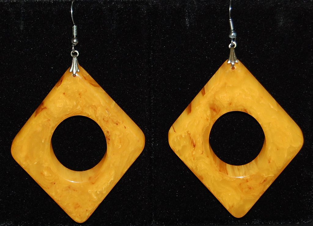 1960s Huge Marbled Butterscotch Bakelite Earrings