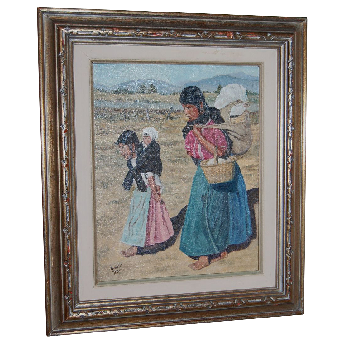 "1960s ""To Market"" Mexican Mother w/ Children Oil Painting"