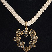 1980s Cabbage Rose Heart Pendant/Choker Necklace