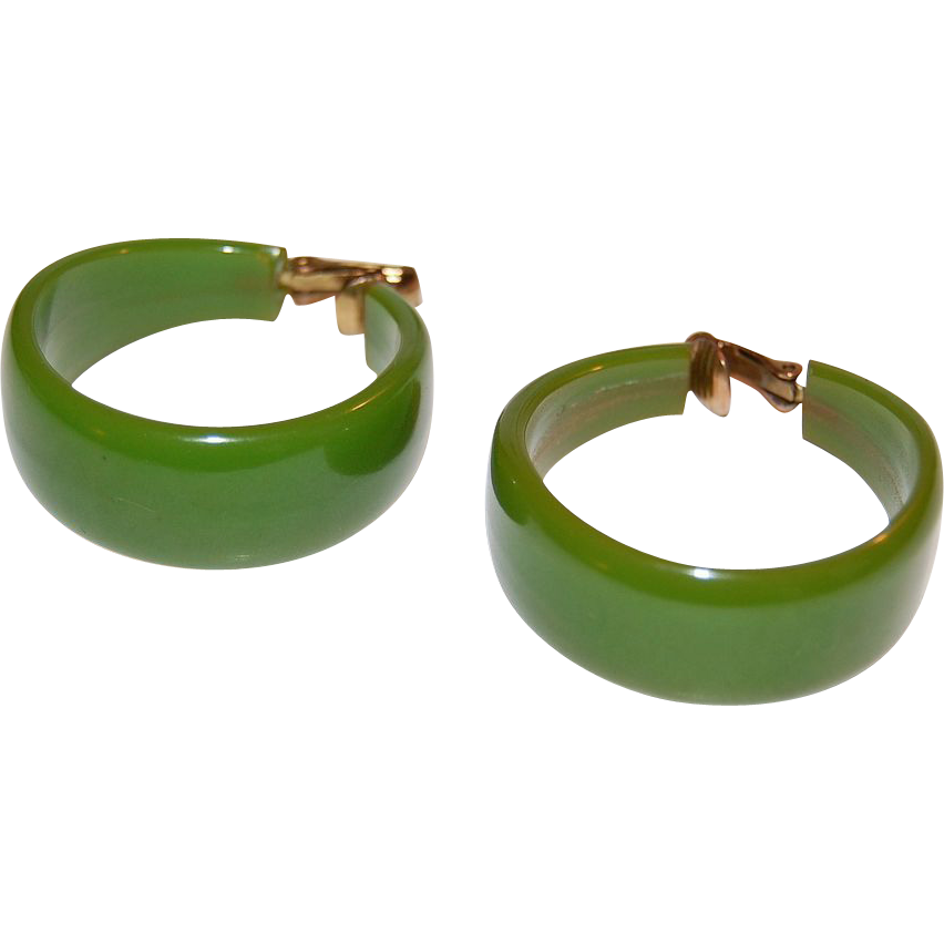 1960s Chunky Lime Green Bakelite Hoop Earrings