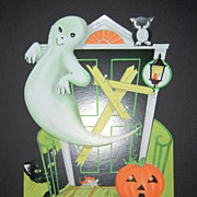 1960s Halloween Ghost & Haunted House Die-Cut