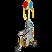 Mechanical Spinning Ball Litho Tin Elephant Wind-up Toy WORKS!