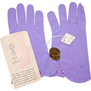 1950s JC Penney Lilac Purple Nylon Gloves w/ Original Tags