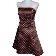 Jessica McClintock Gunne Sax Chocolate Brown & Pink Polka Dot Dress