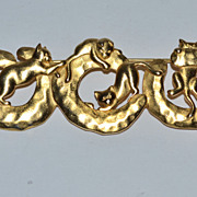 Signed JJ ~ Satin Goldtone Kitty Cat Pin