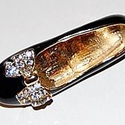 Sweet Black Enamel & Rhinestone Ballerina Flat Shoe Pin