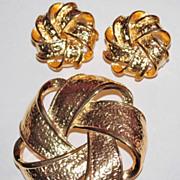 1980s Premier Designs ~ Goldtone Pinwheel Demi-Parure