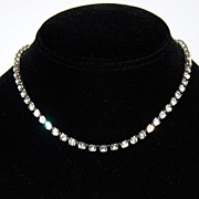CORO Deco Era Clear Rhinestone Choker Necklace