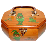 1960s Elf & Mushroom Decoupage Box Purse