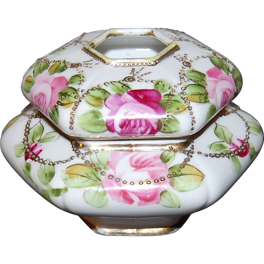 Art Deco Nippon Handpainted Hexagon Hair Receiver