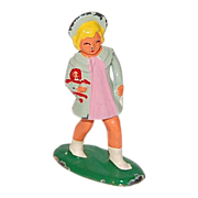 1930s Barclay ~ Blonde Girl with Doll Lead Toy Figurine