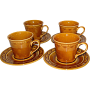 1970s Homer Laughlin Golden Harvest Set of 4 Cups w/ Matching Saucers