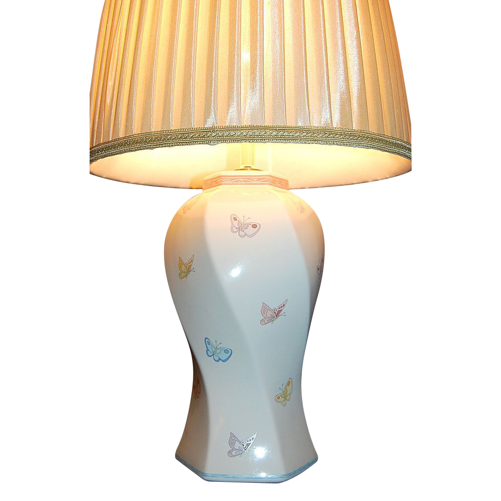 Murray Feiss Signed Butterfly Design Ceramic Table Lamp