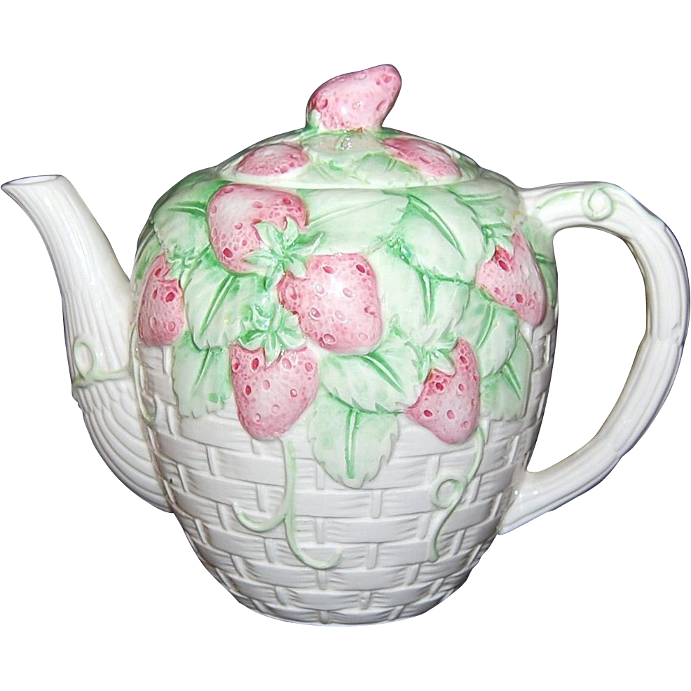 Signed White Glazed Ceramic Strawberry Basketweave Teapot