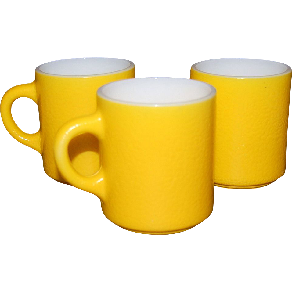 1960s Fire King ~ Set of 3 Lemon Yellow Milk Glass Mugs