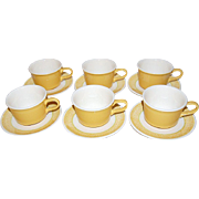 1960s Set of 6 Sunflower Yellow Ceramic Cups & Saucers ~ USA