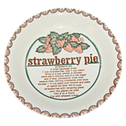 Mount Clemens Pottery ~ Ceramic Strawberry Pie Baking Dish