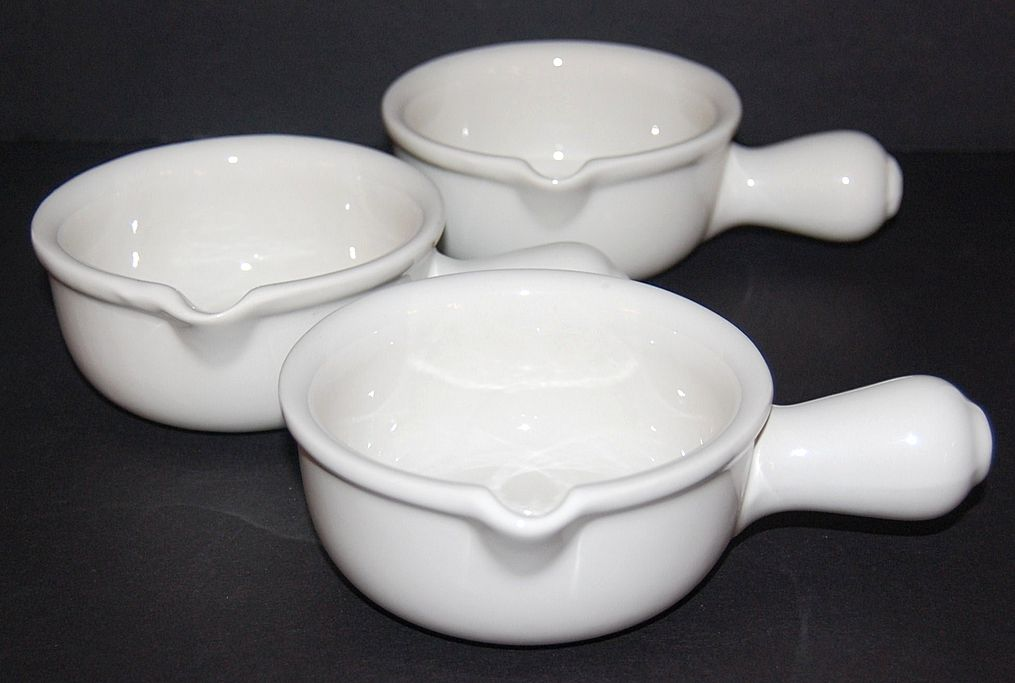Set of 3 Hall Pottery White Ceramic Soup Bowls #644