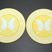 1975 Fitz and Floyd ~ Yellow Striped Butterfly Plates ~ Set of 2