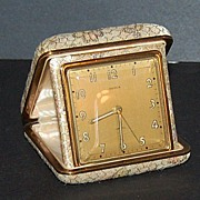 1950/60s Semca ~ Travel Alarm Clock w/ Brocade Case
