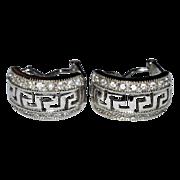 Sterling Silver & CZ Greek Key Hoop Earrings