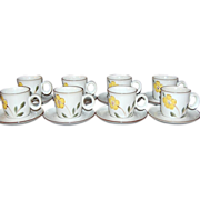 1970s Noritake ~ Hello Spring 16-Pc Cup & Saucer Set
