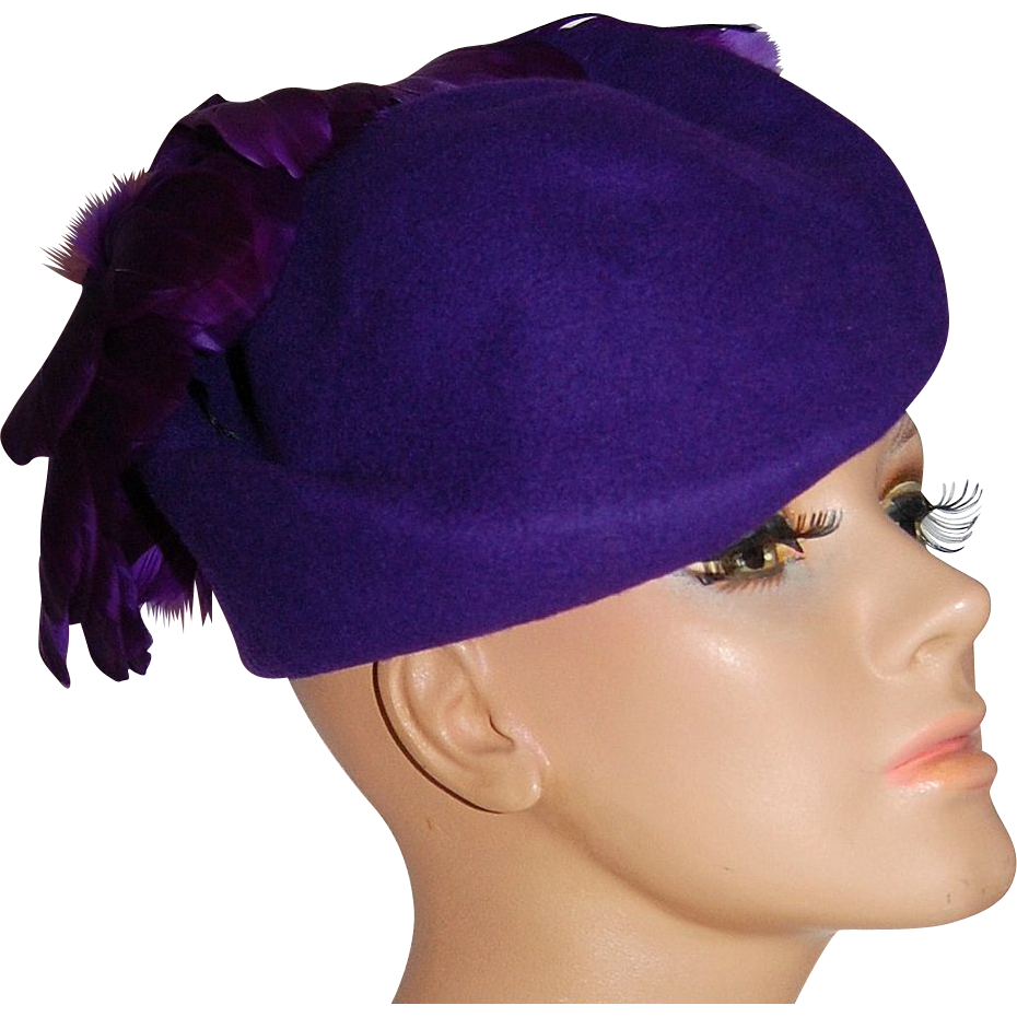 Michael Howard ~ Purple Wool & Feather Hat