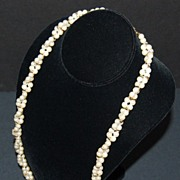 """1960/70s Trifari ~ 29"""" Double-Stranded Faux Pearl Necklace"""
