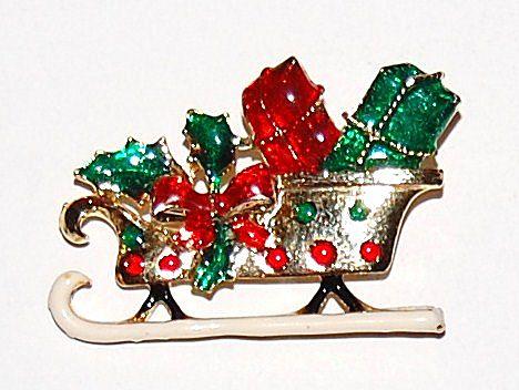 Santa's Sleigh w/ Gifts ~ Enamel Goldtone Pin