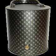 1960s Black & Gold Tiger Print Wig or Hat Case w/ 'Syndie' Form