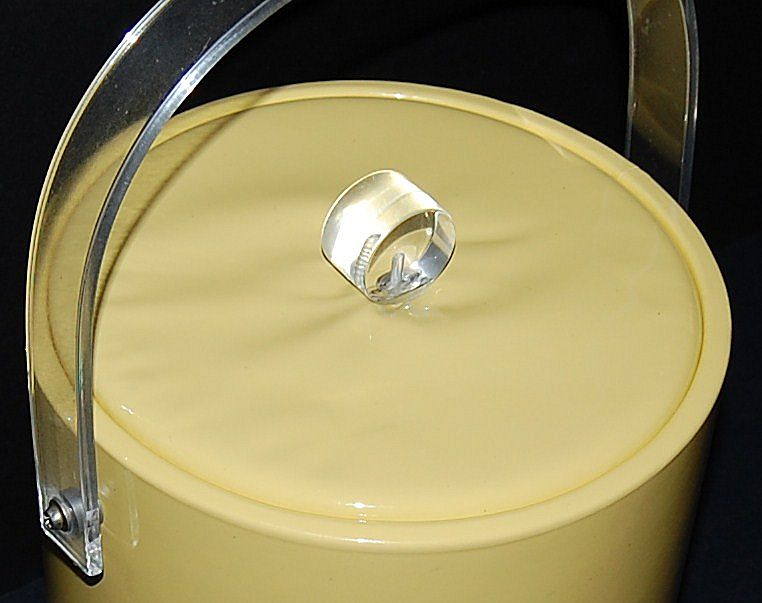 1960s Yellow Vinyl & Lucite Wine or Ice Bucket