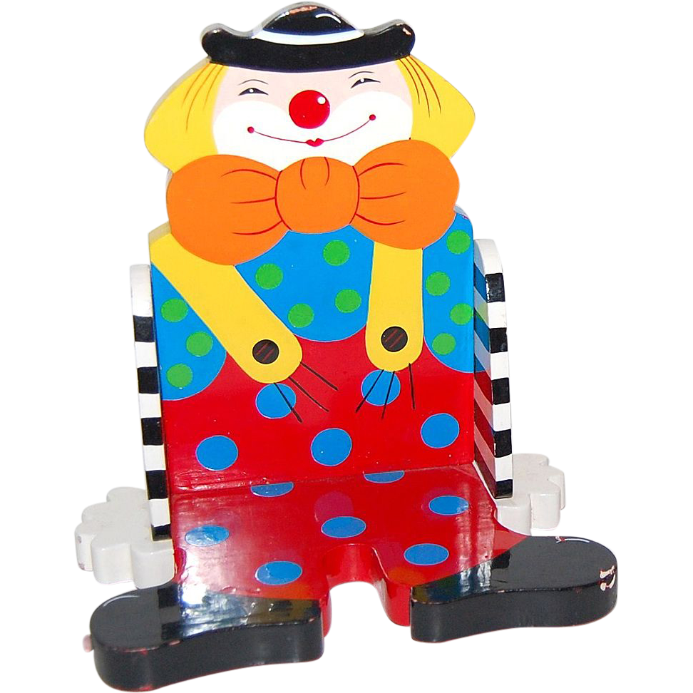 Vintage Sevi ~ Colorful Painted Wood Clown Decor Display or Bookshelf