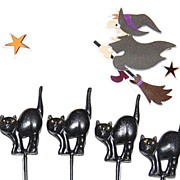 Set of 8 Puffy Black Cat Halloween Cupcake/Cake Toppers