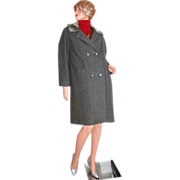 1950/60s ILGWU ~ Gray Wool & Faux Fur Coat