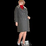 1950/60s ILGWU ~ Gray Wool & Faux Fur Coat
