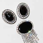1950/60s Faux Onyx & Rhinestone Earrings/Pin Set