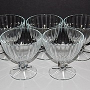 Set of 5 Large Ice Cream/Dessert Pedestal Glasses