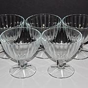 Set of 5 Large Ice Cream/Dessert Pedestal Glasses