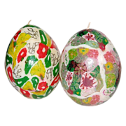 Vintage Set of 2 Millefiori Egg-Shaped Candles