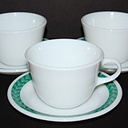 Vintage Pyrex ~ Milk Glass Cups & Olive Branch Saucers