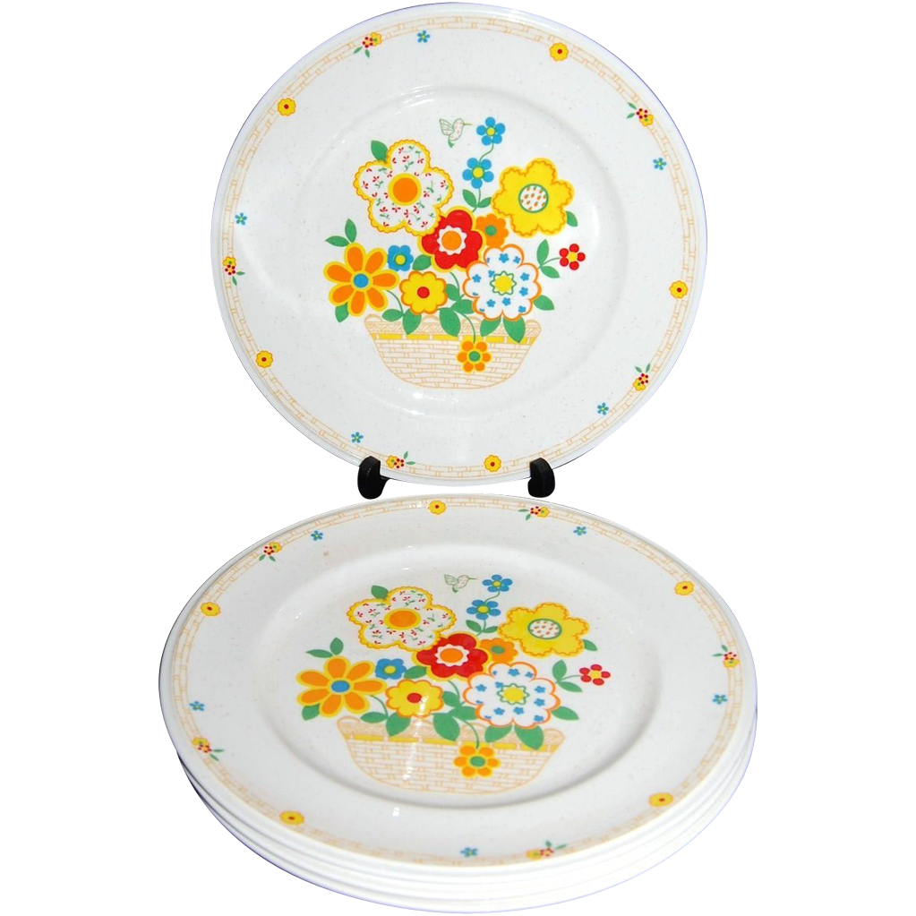 1970s Noritake ~ Set of 4 Crazy Quilt Dinner Plates
