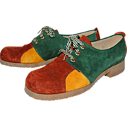 1960/70s Jumping Jacks ~ Colorblock Suede Shoes
