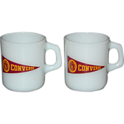 Set of 2 Galaxy Converse College Milk Glass Mugs - Red Tag Sale Item